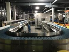 Stainless Steel case conveyor from brewery